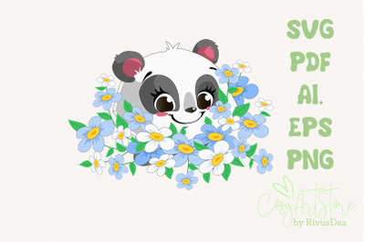 Panda SVG download, Bouquet flowers Panda PNG, Chamomile, Cute baby an