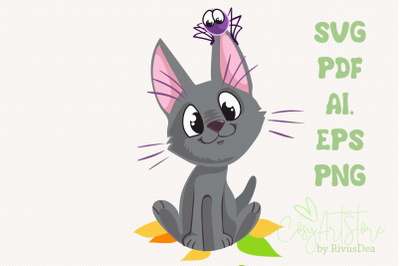 Black kitten SVG download, Cute cat PNG, Grey kitten with spider Hallo