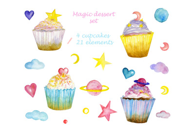 watercolor set with cakes and space elements. Magic dessert set