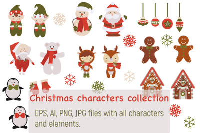 Collection of Christmas characters and elements