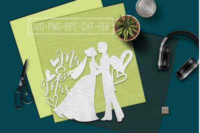 Mr And Mrs 2 Papercut Template, Marriage Decor SVG, PDF, DXF