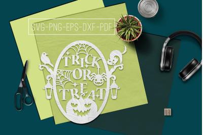 Trick Or Treat Papercut Template, Halloween Decor SVG, PDF