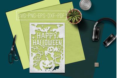 Happy Halloween Papercut Template, Halloween Decor SVG, PDF