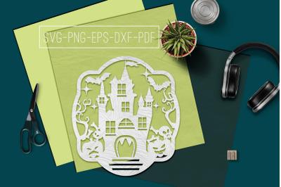 Halloween Castle Papercut Template, Halloween Decor SVG, PDF