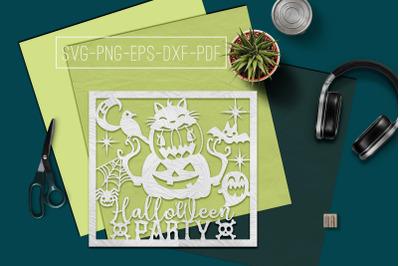 Halloween Party Papercut Template, Halloween Decor SVG, PDF