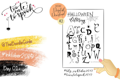 Inktober 2019 - Day 1: Halloween Lettering