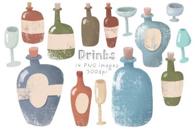 Set of glass bottles
