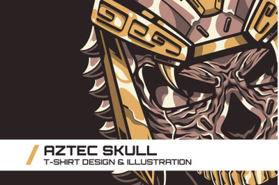 Aztec Skull T-Shirt Illustration