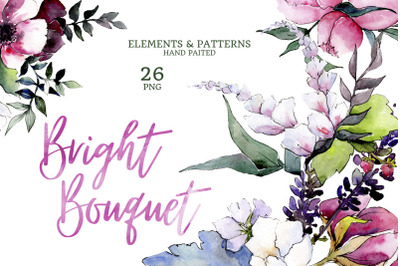 Bouquet of flowers pink Miss Piggy watercolor png
