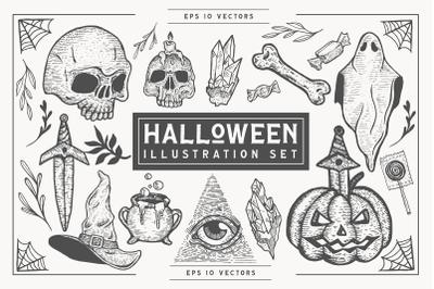 Hand-Drawn Halloween Vector Set