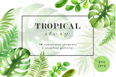 Tropical story. Watercolor elements collection