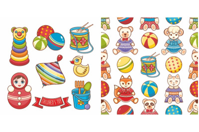 Children's toy. Elements, seamless pattern