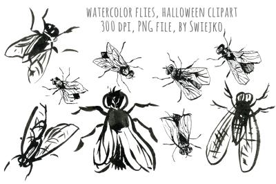 Halloween clipartset, Flies