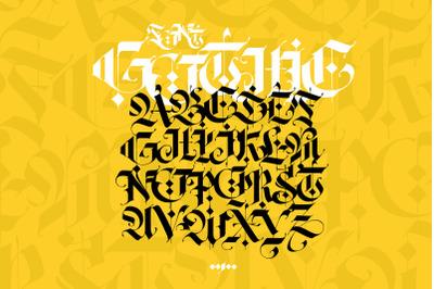 Gothic alphabet. Vector. Modern gothic