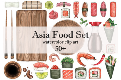 watercolor set with sushi and Asian food, Seafood, spices, tea ceremon