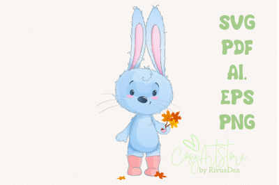 Bunny SVG download, Autumn leaves rabbit PNG, Hare, Cute baby animal C