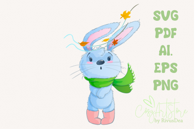 Bunny SVG download, Autumn leaves rabbit PNG, Hare, Cute baby animal