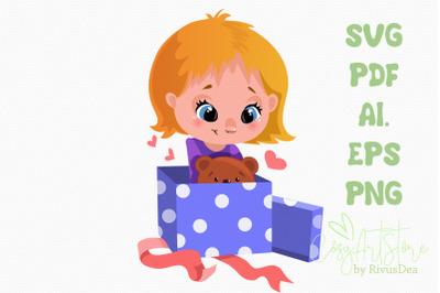 Cute Girl opening Christmas or birthday gift svg