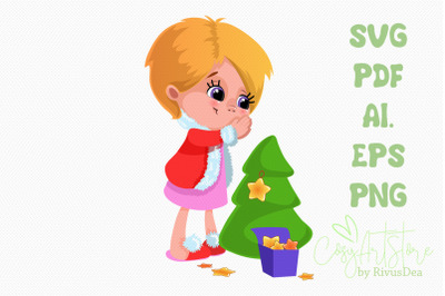 Cute Girl decorating Christmas tree with star svg