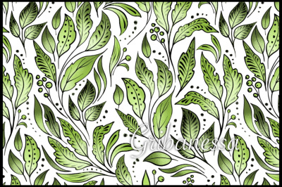 Green seamless floral pattern 2