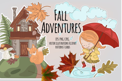FALL ADVENTURES Autumn Season Cartoon Vector Illustration Set