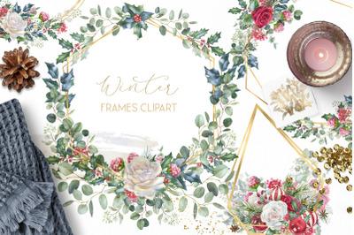 Winter frames clipart, watercolor Christmas borders png clip art