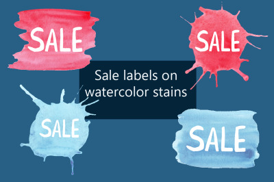 Sale label on watercolor stains