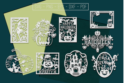 Happy Halloween Papercut Templates Bundle, Spooky, PDF, SVG