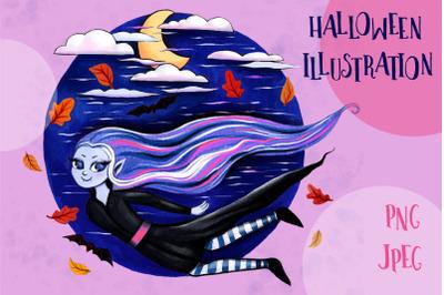 Halloween Vampire Girl Sublimation Design