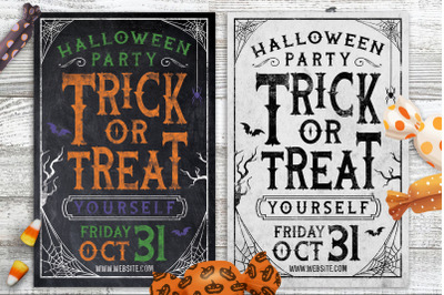 Chalk Halloween Party Flyer Invite