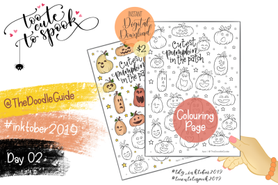 Inktober 2019 - Day 2: Pumpkins COLOURING PAGE