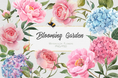 Blooming Garden Watercolor Floral SET (PNG+PSD)