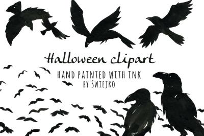Halloween clipart set, Ravens