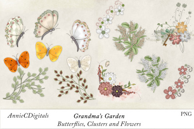 Scrapbook Butterflies, Flowers, Grandmas Garden