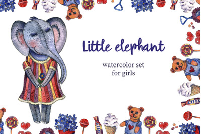 Little elephant - watercolor set for girls