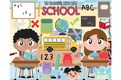 School Clipart, Instant Download Vector Art, Commercial Use