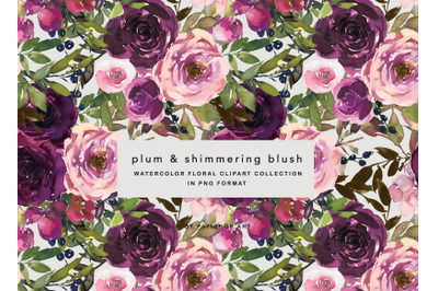 Watercolor Wine and Blush Floral Bouquet Clipart