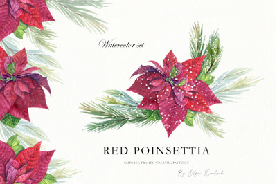 Red Poinsettia Watercolor Set