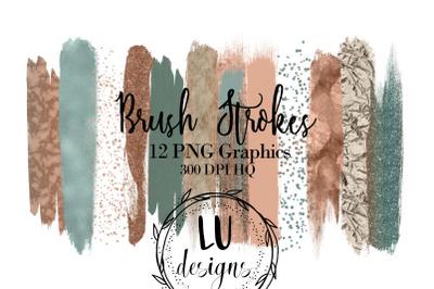 Green And Copper Brush Strokes, Confetti Foil Glitter Textures