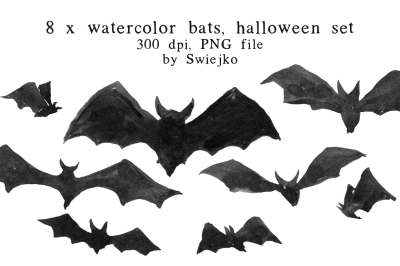 Halloween clip art set, Bats