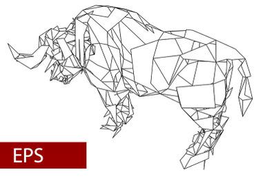 mosaics a buffalo. abstract a buffalo.