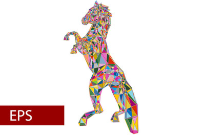 mosaics a horse. abstract a horse. pop art a horse. lowpoly a horse.