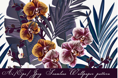 Tropical orchid vector seamless pattern