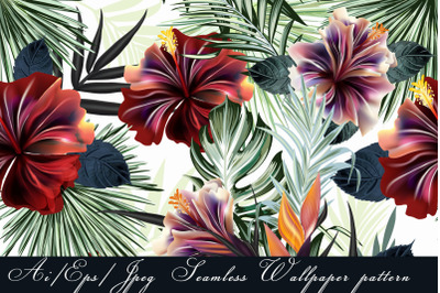 Tropical vector seamless pattern with hibiscus flowers
