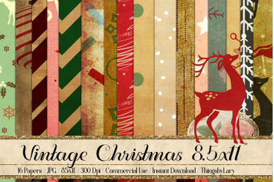 16 Vintage Winter Holiday Christmas Digital Papers 8.5x11