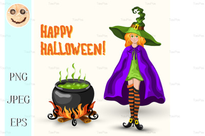 Witch, cauldron with poison and Halloween title