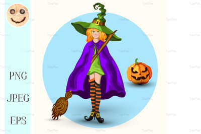 Witch in the green hat and pumpkin lantern