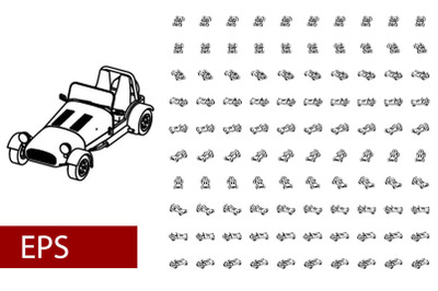100 sets lineart car rotation