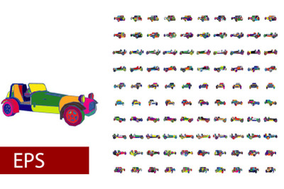 100 sets of Pop art car rotations