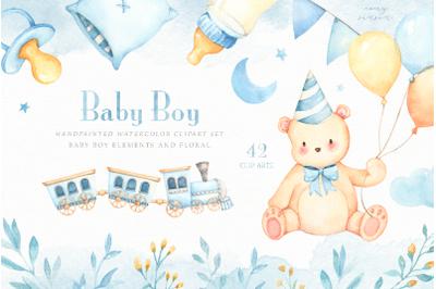 Baby Boy Watercolor Clip Arts